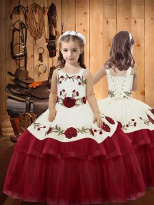 Sleeveless Lace Up Floor Length Embroidery and Ruffled Layers Pageant Dress for Teens