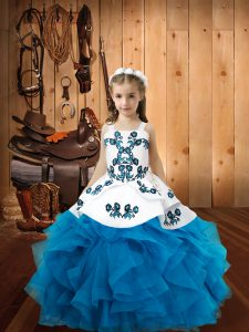 Customized Baby Blue Straps Lace Up Embroidery and Ruffles Little Girl Pageant Dress Sleeveless