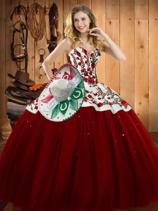 Top Selling Wine Red Sweetheart Neckline Embroidery 15 Quinceanera Dress Sleeveless Lace Up