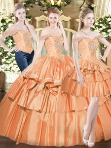 Orange Red Organza Lace Up 15 Quinceanera Dress Sleeveless Floor Length Beading and Ruffled Layers