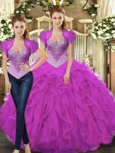 On Sale Floor Length Lace Up Quince Ball Gowns Fuchsia for Military Ball and Sweet 16 and Quinceanera with Beading and Ruffles