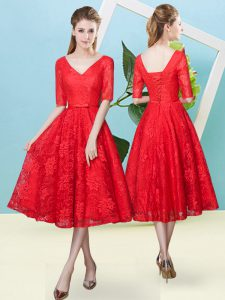 Flirting Tea Length Lace Up Quinceanera Dama Dress Red for Prom and Party and Wedding Party with Bowknot