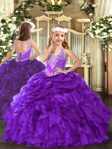 Low Price Purple V-neck Lace Up Beading and Ruffles and Pick Ups Little Girl Pageant Gowns Sleeveless