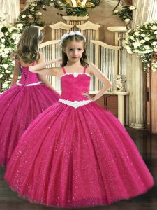 Exquisite Hot Pink Ball Gowns Appliques Little Girls Pageant Dress Wholesale Zipper Tulle Sleeveless Floor Length