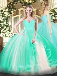 Turquoise Ball Gowns Tulle Spaghetti Straps Sleeveless Ruffles Floor Length Zipper 15th Birthday Dress