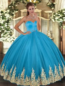 Sleeveless Floor Length Appliques Lace Up 15 Quinceanera Dress with Baby Blue