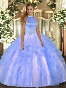 Sleeveless Beading and Ruffles Backless Sweet 16 Dresses