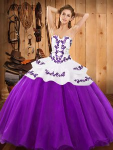 Glamorous Sleeveless Embroidery Lace Up Ball Gown Prom Dress