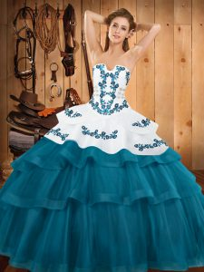Teal Lace Up 15 Quinceanera Dress Embroidery and Ruffled Layers Sleeveless Sweep Train