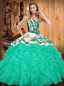 Glittering Sweetheart Sleeveless 15th Birthday Dress Floor Length Embroidery and Ruffles Turquoise Satin and Organza