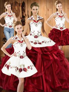 Ball Gowns 15 Quinceanera Dress Wine Red Halter Top Organza Sleeveless Floor Length Lace Up