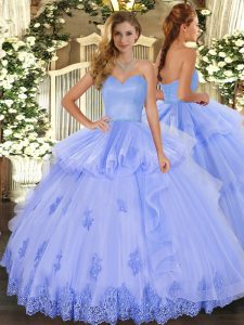 Classical Sweetheart Sleeveless Lace Up Quinceanera Gowns Lavender Tulle