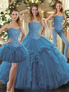Fashion Sleeveless Tulle Floor Length Lace Up Quinceanera Dresses in Teal with Beading and Ruffles