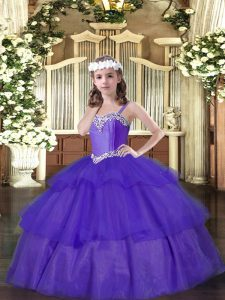 Lovely Sleeveless Organza Floor Length Lace Up Little Girls Pageant Gowns in Purple with Beading and Ruffled Layers