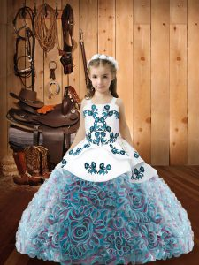 Hot Selling Floor Length Multi-color Child Pageant Dress Straps Sleeveless Lace Up