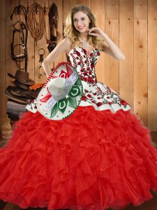 944a4b084a  400.85  247.04  Red Tulle Lace Up Sweetheart Sleeveless Floor Length Vestidos  de Quinceanera Embroidery and Ruffles