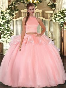 Vintage Pink Backless Quinceanera Dress Beading Sleeveless Floor Length