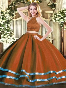 Exceptional Rust Red Two Pieces Beading Sweet 16 Dress Backless Tulle Sleeveless Floor Length