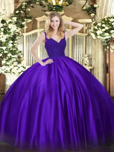 Purple V-neck Backless Beading and Lace Sweet 16 Quinceanera Dress Sleeveless