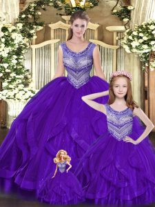 Spectacular Eggplant Purple Sleeveless Tulle Lace Up Sweet 16 Quinceanera Dress for Military Ball and Sweet 16 and Quinceanera