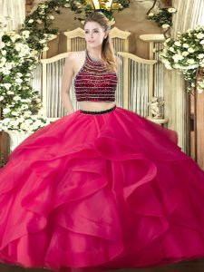 Excellent Hot Pink Sleeveless Beading and Ruffles Floor Length Sweet 16 Dress