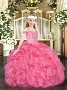 Charming Sleeveless Floor Length Beading and Ruffles Lace Up Kids Pageant Dress with Hot Pink