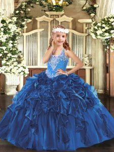 Glorious Sleeveless Floor Length Beading and Ruffles Lace Up Pageant Gowns with Blue