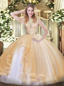Lace and Ruffles 15th Birthday Dress Champagne Backless Sleeveless Floor Length