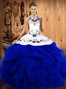 Traditional Halter Top Sleeveless Tulle Sweet 16 Dresses Embroidery and Ruffles Lace Up