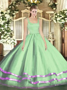 Fitting Apple Green Sweet 16 Dresses Military Ball and Sweet 16 and Quinceanera with Ruffled Layers Straps Sleeveless Zipper