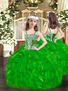 Perfect Green Lace Up Little Girls Pageant Dress Wholesale Appliques and Ruffles Sleeveless Floor Length