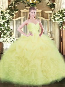 Fabulous Light Yellow Organza Lace Up 15th Birthday Dress Sleeveless Floor Length Beading and Ruffles