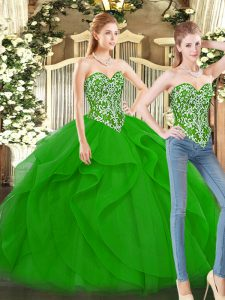 Floor Length Ball Gowns Sleeveless Green 15th Birthday Dress Lace Up