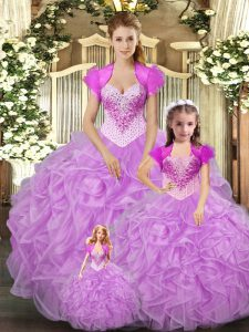 Trendy Lilac Sleeveless Tulle Lace Up Ball Gown Prom Dress for Military Ball and Sweet 16 and Quinceanera