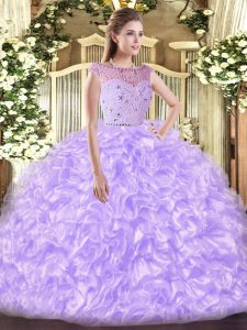 Lavender Ball Gowns Beading and Ruffles Quinceanera Gowns Zipper Tulle Sleeveless Floor Length