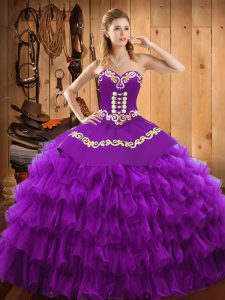 Sleeveless Satin and Organza Floor Length Lace Up Sweet 16 Dress in Purple with Embroidery and Ruffled Layers