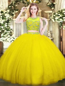 Romantic Gold Quince Ball Gowns Military Ball and Sweet 16 and Quinceanera with Beading Scoop Sleeveless Zipper