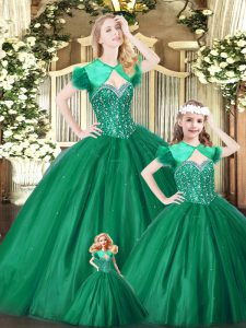 Sweetheart Sleeveless Quince Ball Gowns Floor Length Beading Green Tulle