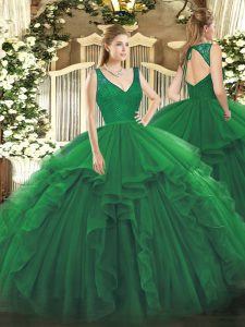 Dark Green Quinceanera Gowns Sweet 16 and Quinceanera with Beading and Ruffles V-neck Sleeveless Zipper