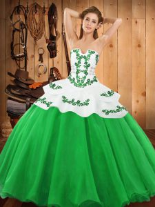 Classical Green Quinceanera Gown Military Ball and Sweet 16 and Quinceanera with Embroidery Strapless Sleeveless Lace Up