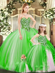 Excellent Sweetheart Sleeveless Tulle Quinceanera Dress Beading Lace Up