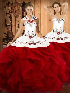 High End Floor Length Lace Up Sweet 16 Quinceanera Dress Wine Red for Military Ball and Sweet 16 and Quinceanera with Embroidery and Ruffles