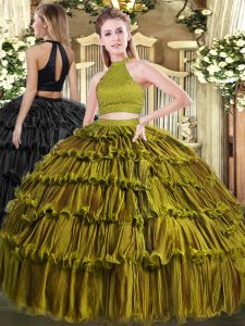 Unique Olive Green Organza Backless Vestidos de Quinceanera Sleeveless Floor Length Beading and Ruffled Layers