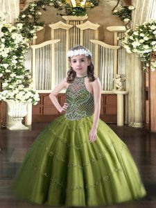 Olive Green Lace Up Evening Gowns Beading Sleeveless Floor Length