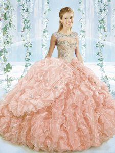 Sleeveless Brush Train Lace Up Beading and Ruffles Ball Gown Prom Dress