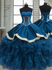 Beading and Ruffles Quinceanera Gown Blue Lace Up Sleeveless Floor Length