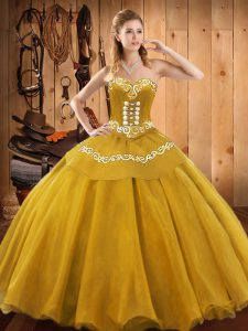New Arrival Ball Gowns Quinceanera Dress Gold Sweetheart Satin and Tulle Sleeveless Floor Length Lace Up