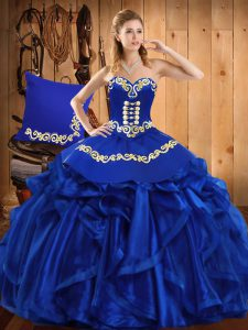 Customized Floor Length Lace Up Sweet 16 Dresses Royal Blue for Military Ball and Sweet 16 and Quinceanera with Embroidery and Ruffles