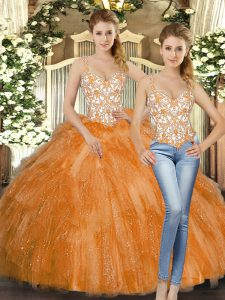 Elegant Beading and Ruffles Quinceanera Gown Orange Red Lace Up Sleeveless Floor Length