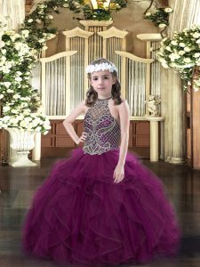 Lovely Purple Pageant Gowns For Girls Party and Quinceanera with Beading and Ruffles Halter Top Sleeveless Lace Up